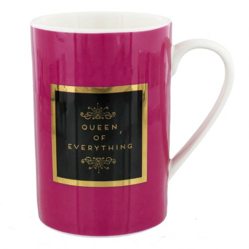 Bright Pink and Gold Inspirational Mug in Gift Box - 'Queen Of Everything'